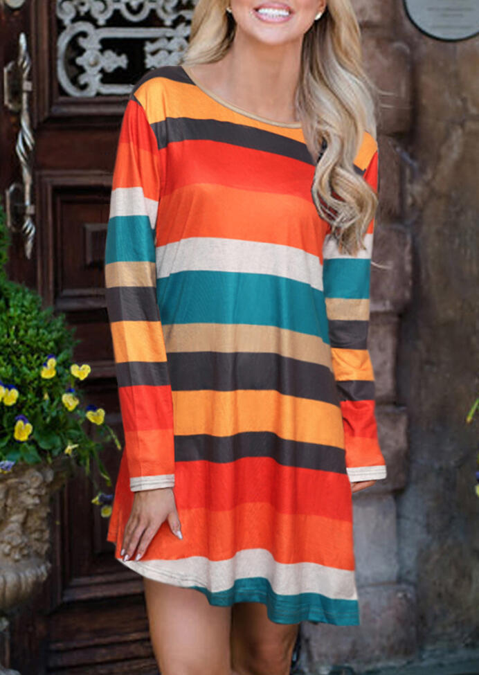 Colorful Striped Side Button Mini Dress – Multicolor