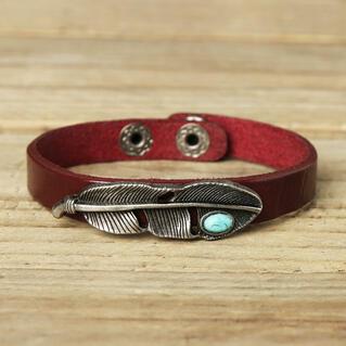 Vintage Turquoise Feather Leather Bracelet