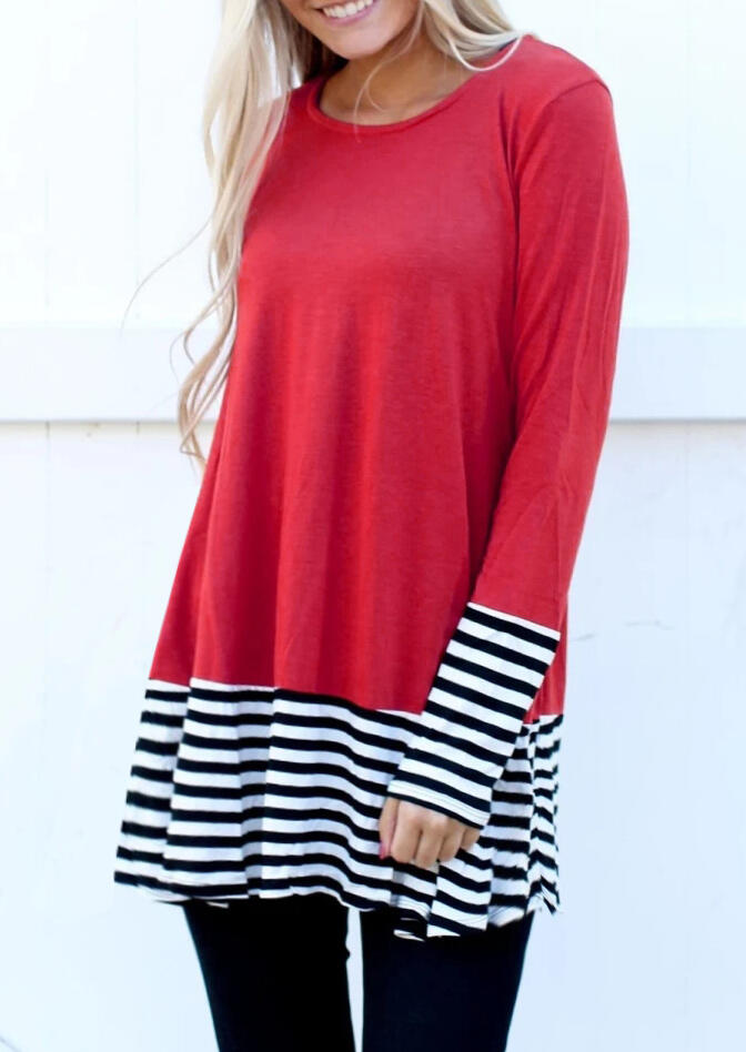 Color Block Striped Splicing Blouse – Red
