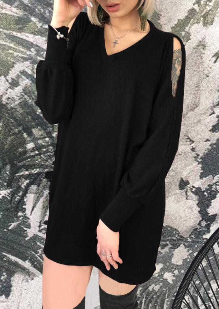 Solid V-Neck Hollow Out Mini Dress without Necklace – Black