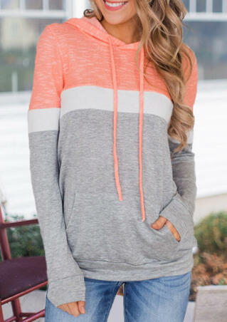 Color Block Kangaroo Pocket Drawstring Hoodie - Light Grey
