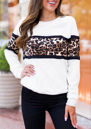Leopard Long Sleeve Sweatshirt - White