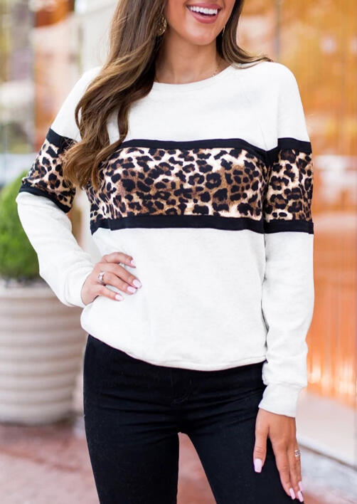Sweatshirts Leopard Long Sleeve Sweatshirt in White. Size: S,M,L,XL фото