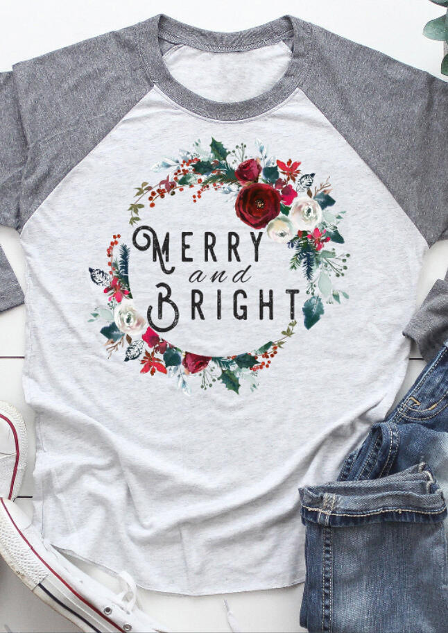 Floral Merry And Bright T-Shirt Tee – Light Grey