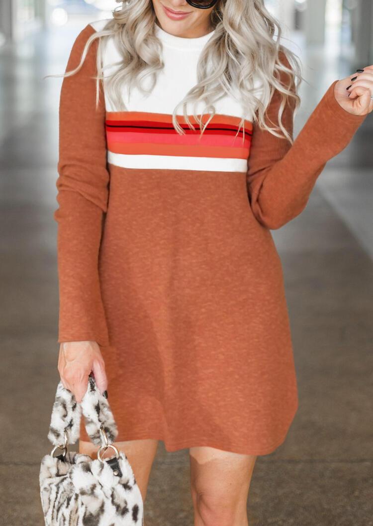 Striped Color Block O-Neck Mini Dress – Brown