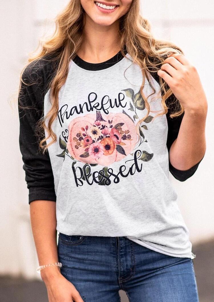 Thankful Blessed Pumpkin T-Shirt Tee – Light Grey