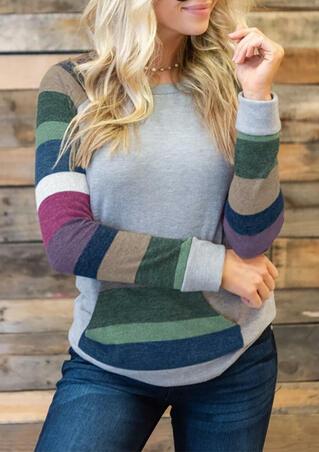 Color Block Striped Kangaroo Pocket T-Shirt Tee without Choker - Gray