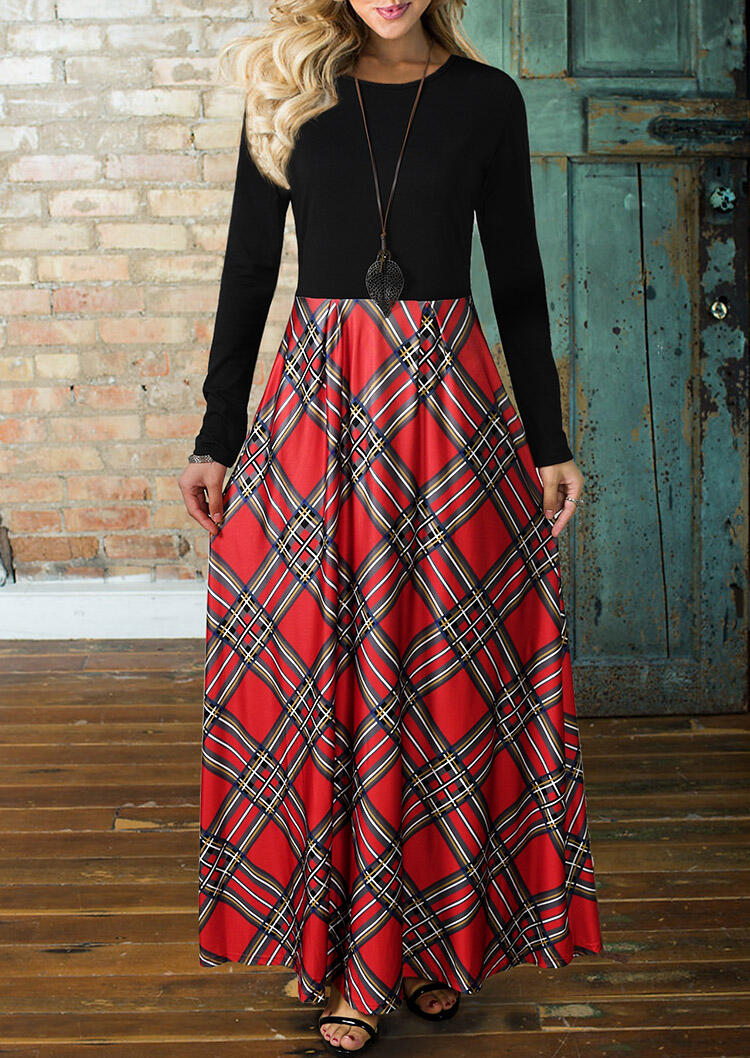 Plaid Splicing Pocket Maxi Dress without Necklace - Red фото