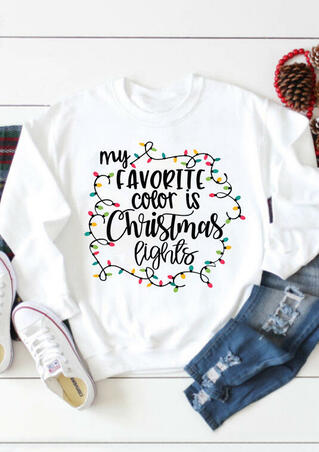 My Favorite Color Is Christmas Lights Sweatshirt - White