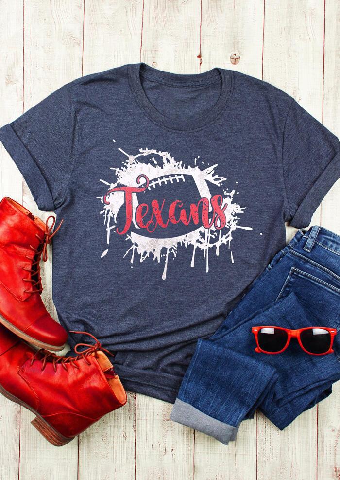 Texans Football O-Neck T-Shirt Tee – Blue