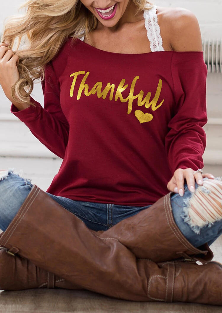 Thankful Heart Off Shoulder Blouse without Strap – Burgundy