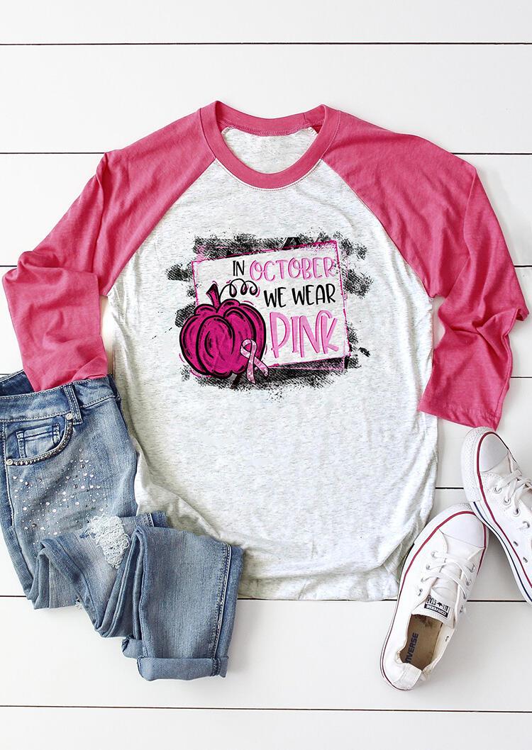 October We Wear Pink Pumpkin T-Shirt Tee – Light Grey