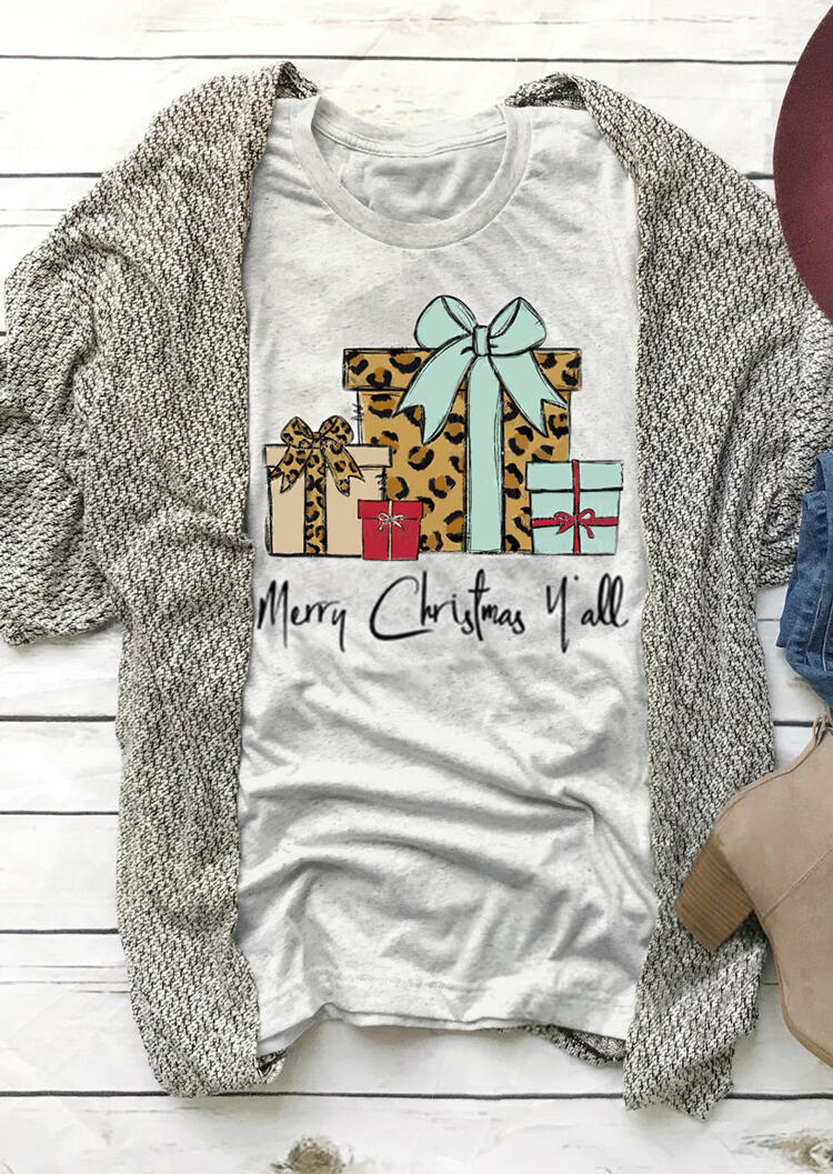 Leopard Printed Merry Christmas Y'All T-Shirt Tee – Light Grey