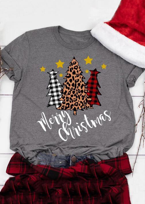 Plaid Leopard Printed Merry Christmas Trees T-Shirt Tee – Gray