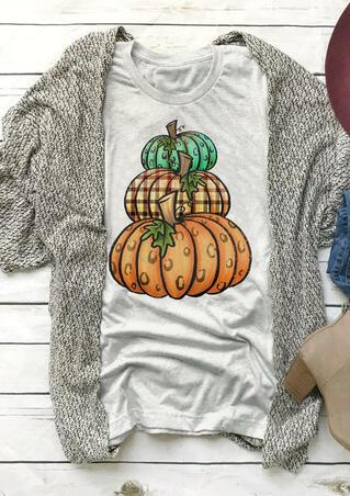 Leopard Printed Plaid Pumpkin T-Shirt Tee - Light Grey