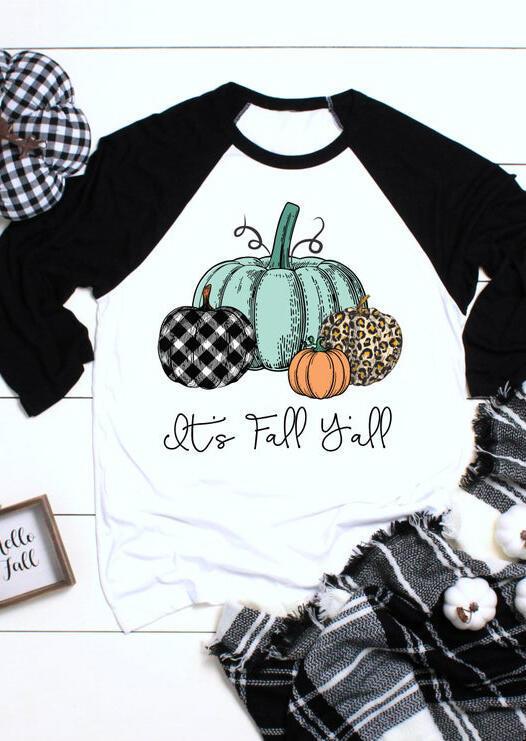 Plaid Leopard Printed It's Fall Y'all Pumpkin T-Shirt Tee – White