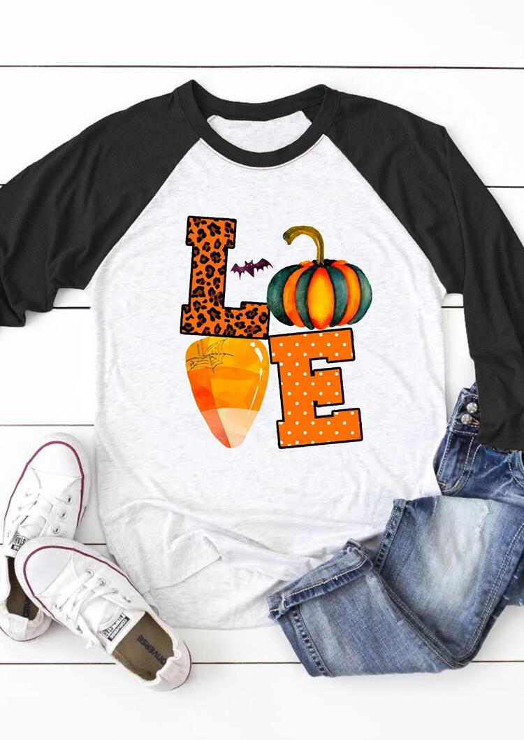Love Pumpkin Long Sleeve T-Shirt Tee – Light Grey