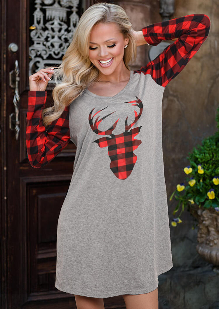 Christmas Red Black Plaid Reindeer and Red Black Plaid Long Sleeves Spliced Gray Color Block Casual Mini Dress in Gray. Size: M фото