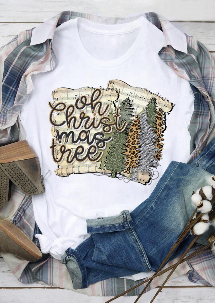 Leopard Printed Oh Christmas Tree T-Shirt Tee – White