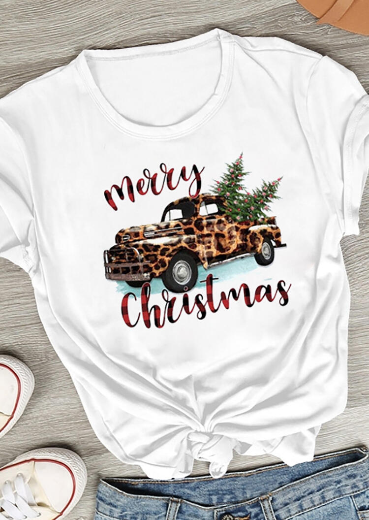Leopard Printed Car Merry Christmas T-Shirt Tee – White
