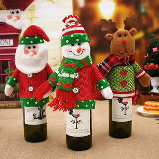Christmas Decoration Santa Snowman Champagne Wine Bottle Cover