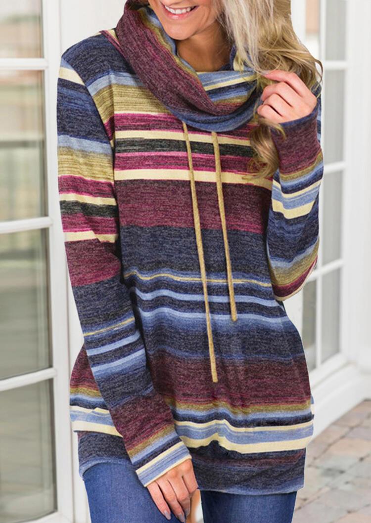 Striped Drawstring Cowl Neck Blouse – Blue