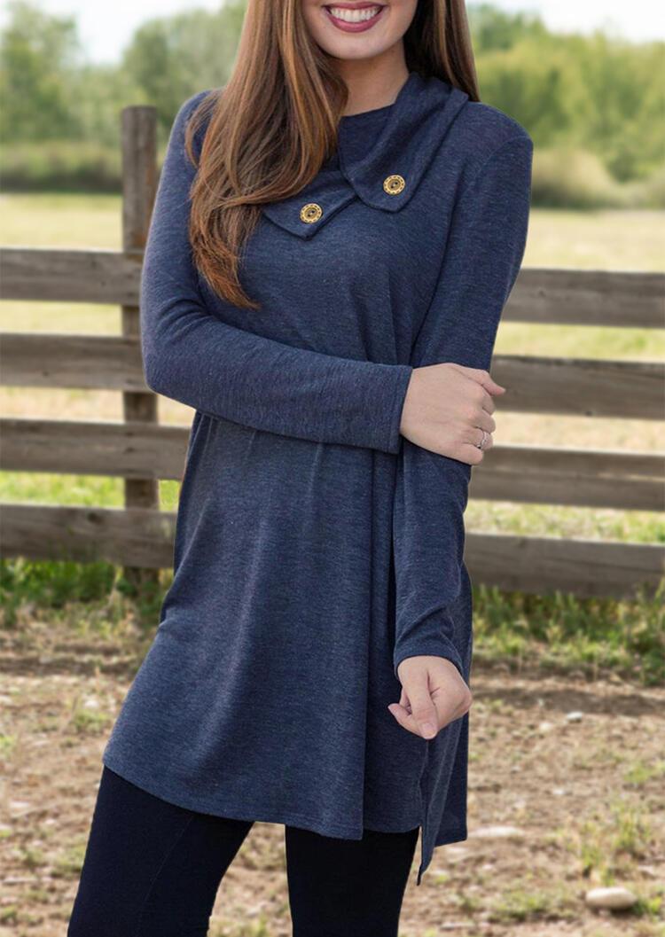 Solid Button Long Sleeve Mini Dress – Deep Blue
