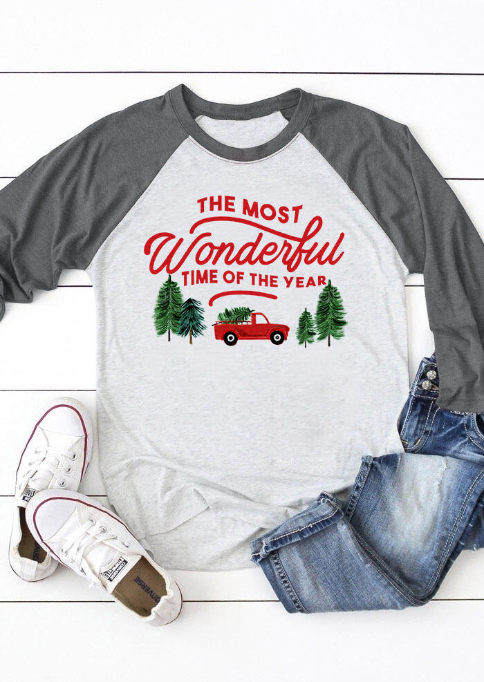 The Most Wonderful Time Of The Year T-Shirt Tee –  Light Grey