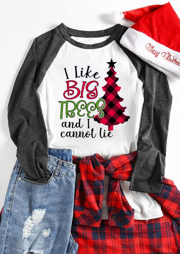 Tees T-shirts Christmas I Like Big Trees T-Shirt Tee in Dark Grey. Size: S,M,L,XL фото