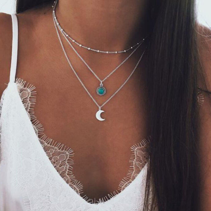 Necklaces Vintage Turquoise Moon Multi-Layer Necklace in Silver. Size: One Size фото