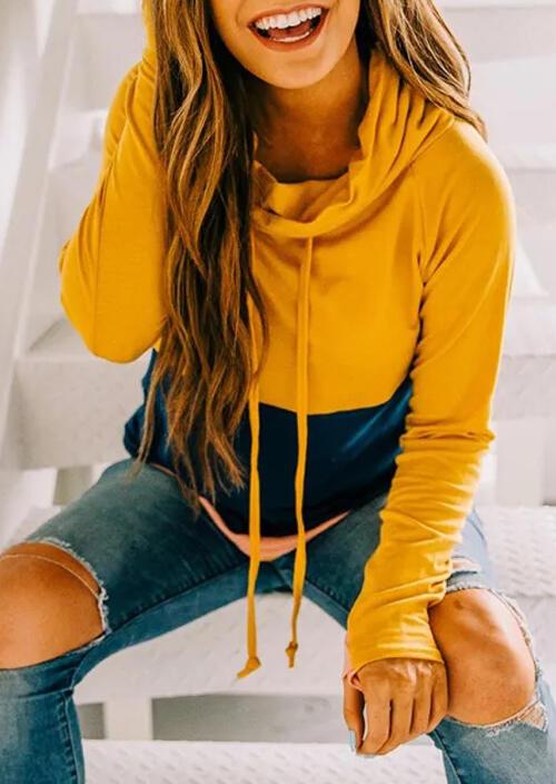 Color Block Splicing Drawstring Thumbhole Sweatshirt - Yellow фото