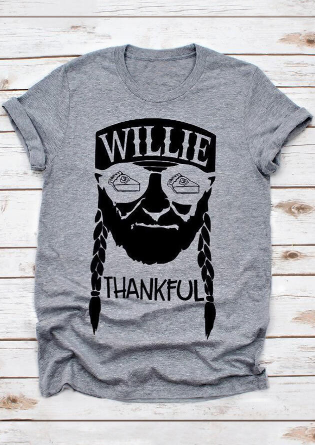 Willie Thankful T-Shirt Tee – Gray