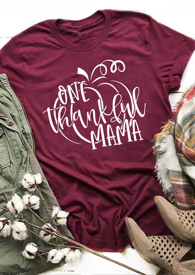 One Thankful Mama T-Shirt Tee – Burgundy