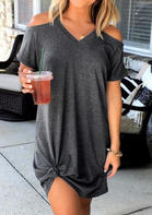 Solid Cold Shoulder Mini Dress without Necklace - Dark Grey