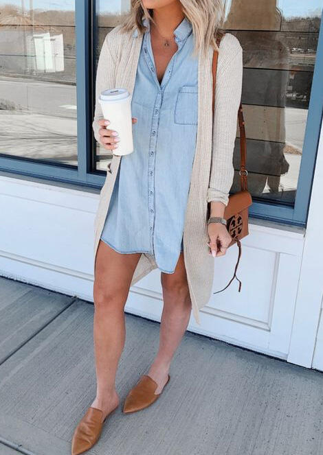 Solid Denim Button Mini Dress without Necklace - Blue