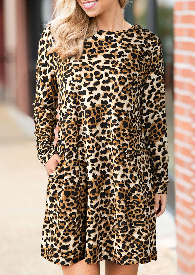Leopard Printed Pocket Mini Dress without Necklace