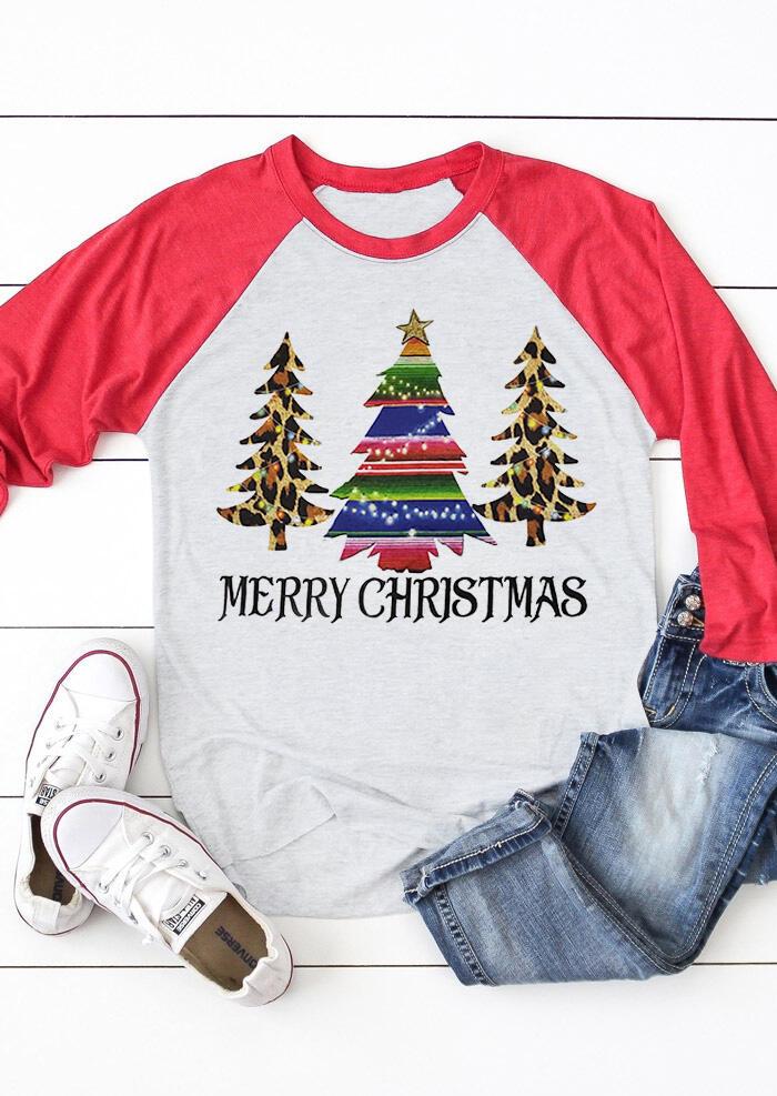 Leopard Printed Merry Christmas Trees T-Shirt Tee – Light Grey