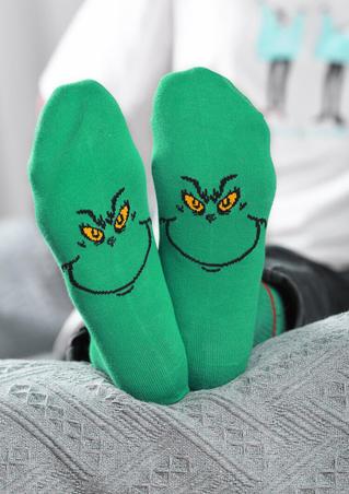 Christmas Grinch Face Socks
