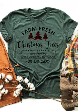 Farm Fresh Christmas Trees T-Shirt Tee - Dark Green