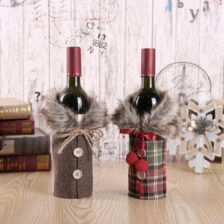 Christmas Decoration Button Bow Fur Wine Bottle Bag