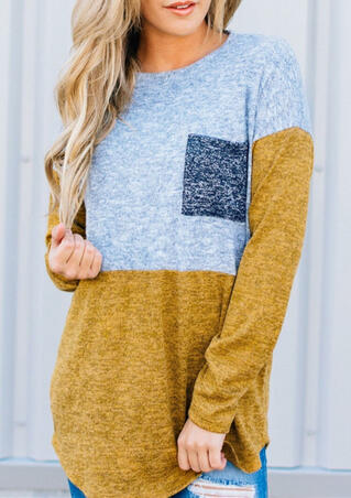 Color Block Pocket Long Sleeve Blouse - Yellow