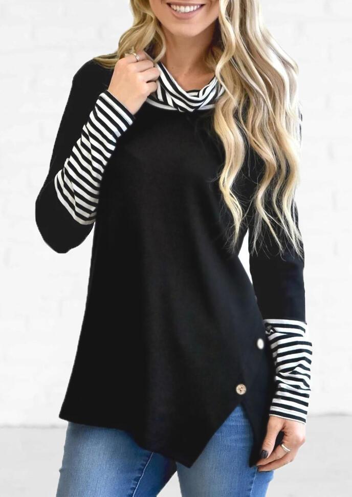Striped Splicing Cowl Neck Slit Blouse – Black