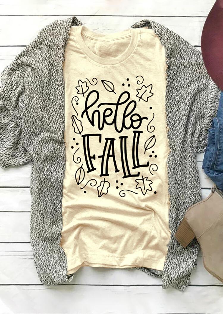 Hello Fall T-Shirt Tee – Apricot