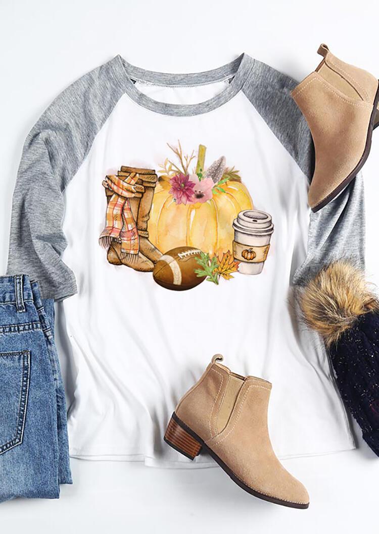 Floral Scarf Boots Footballl Pumpkin T-Shirt Tee – White