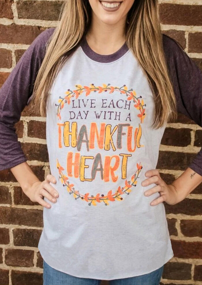 Live Each Day With A Thankful Heart T-Shirt Tee – Light Grey
