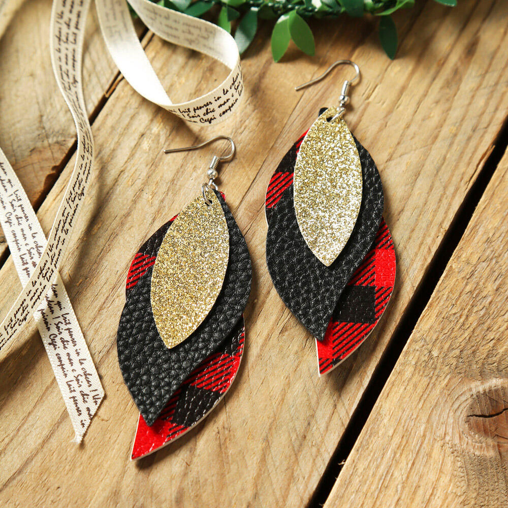 Plaid Sequined Leaf Multi-Layered Leather Earrings фото
