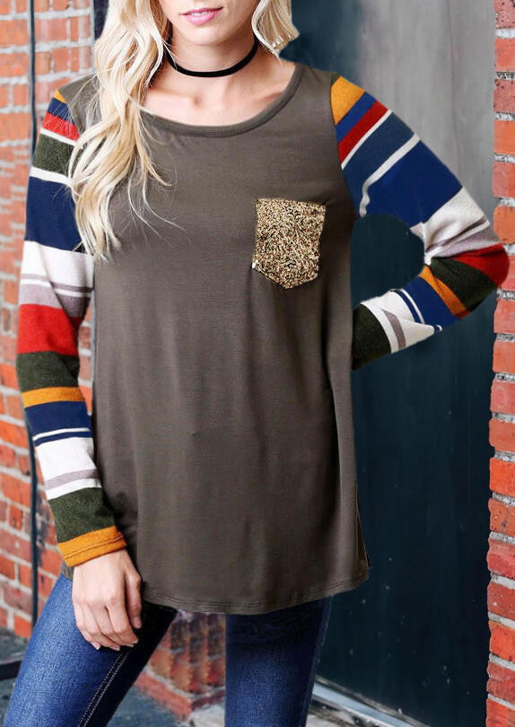 Color Block Striped Sequined Blouse without Choker – Coffee