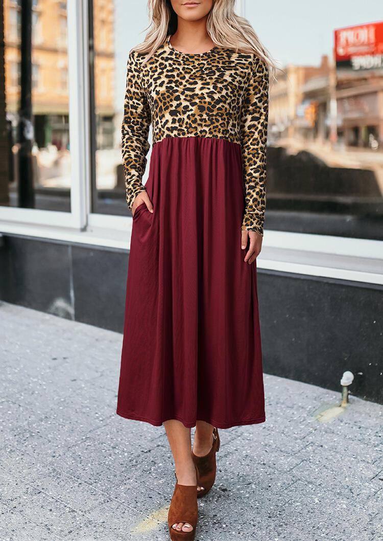 Maxi Dresses Leopard Printed Ruffled Pocket Long Sleeve Maxi Dress in Burgundy. Size: S,M,L,XL фото