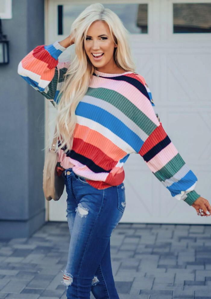 Colorful Striped O-Neck Blouse – Multicolor