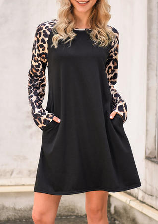 Leopard Printed Splicing Pocket Mini Dress - Black